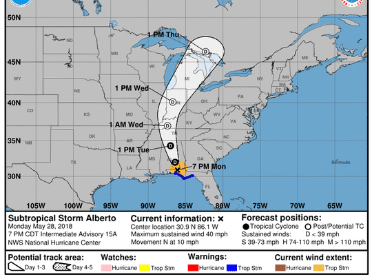 Projected path of Subtropical Storm Alberto as of 8