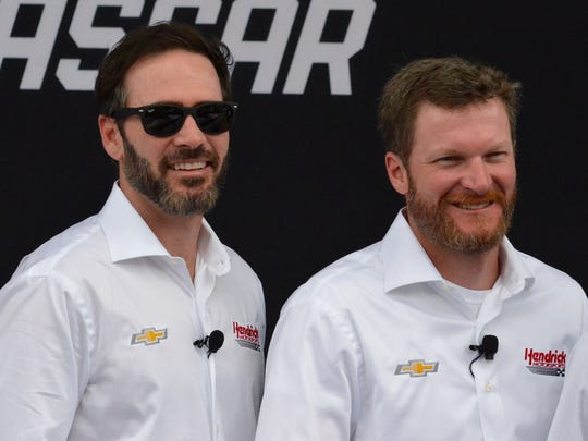 Monster Energy NASCAR Cup Series drivers Jimmie Johnson, left, and Dale Earnhardt Jr. were in Detroit on Thursday, Aug. 10, 2017, for the announcement that the Chevrolet Camaro will return to the Cup Series in 2018.
