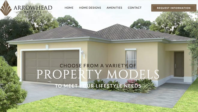 The new Arrowhead Reserve website provides buyers with home designs and information about the community and surrounding area.