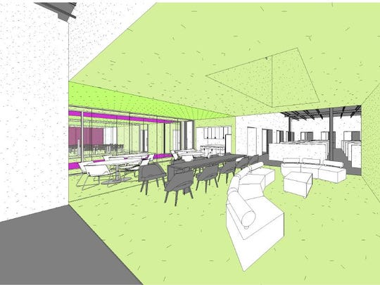 Rendering of interior meeting and collaboration space