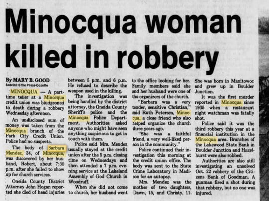 An article published in the Green Bay Press-Gazette on April 29, 1982, reports on the murder of Barbara Mendez in Minocqua.