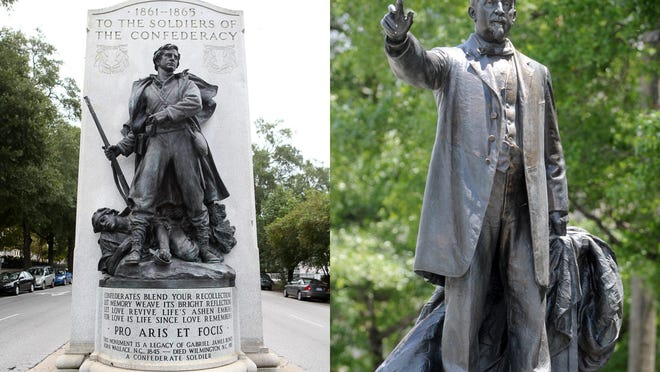 Downtown Wilmington's two Confederate monuments: the memorial to soldiers who fought for the Confederacy in the Civil War at Third and Dock streets, and the statue to politician George Davis at the Third and Market streets.