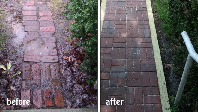 Before and after photos of a sidewalk repaired by Asheville Area Habitat for Humanity.