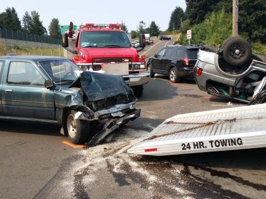 A crash near Enchanted Forest seriously injured one.