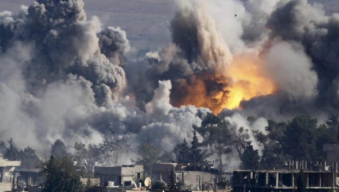 The immediate aftermath of a coalition airstrike on Syria in October last year.
