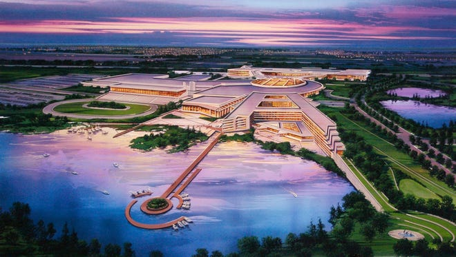 This artist's rendering provided by The Menominee Nation shows the tribe's proposed casino in Kenosha.