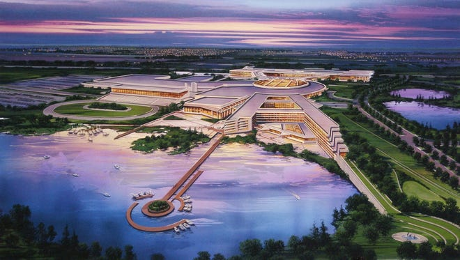 This artist's rendering provided by The Menominee Nation shows the proposed casino at the site of the former Dairyland Greyhound Dog Track in Kenosha.