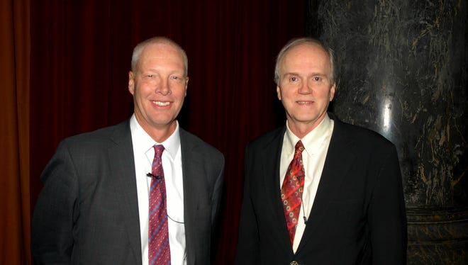 Des Moines-based American Enterprise Group announced Friday that Thomas Swank (left) is the company's new CEO. He is pictured here with outgoing chairman and CEO Mike Abbott.