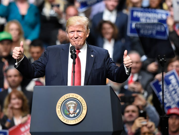President Donald Trump addresses the crowd during a