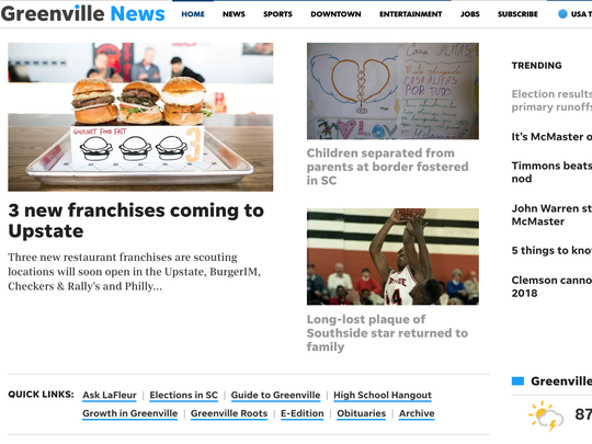 Here's a screen grab of the new layout of The Greenville News' website.