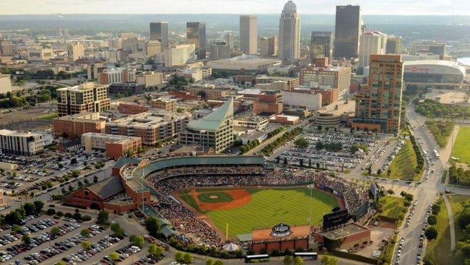 Aerial view of Louisville Slugger Field.