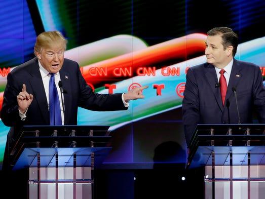 Donald Trump speaks as Sen. Ted Cruz, R-Texas,  looks