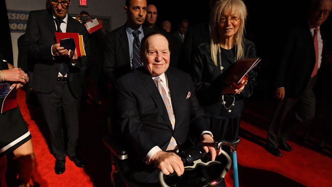 Casino magnate Sheldon Adelson enters the hall before the first presidential debate on Sept. 26, 2016.