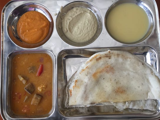 The dosa platter at Maya's South Indian Cuisine features