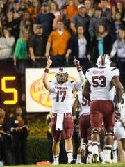 South Carolina quarterback Dylan Thompson (17) celebrates