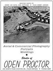 This 1952 advertisement for Proctor photography shows the Desert Air Hotel.