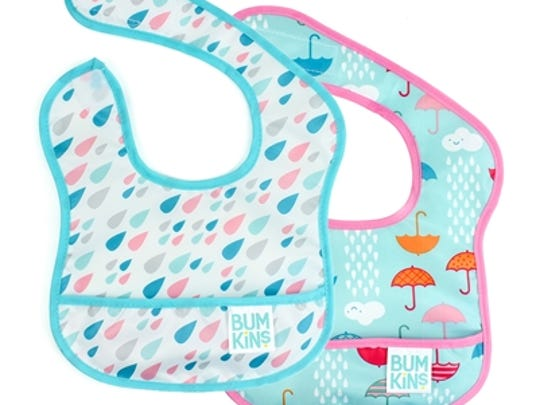 Shield Baby from messiness with bibs from Bumkins in a spring-showers theme.