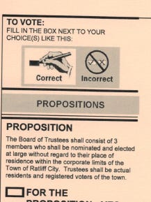 Sample ballot for Ratliff City's proposition.