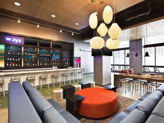 The WXYZ bar of the Aloft Hotel.