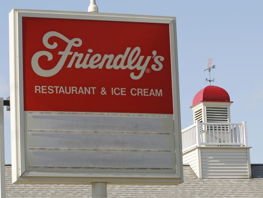 An empty sign is posted at a Friendly's restaurant