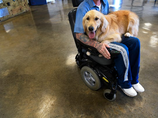 Golden retriever Mack shows some love to his trainer,