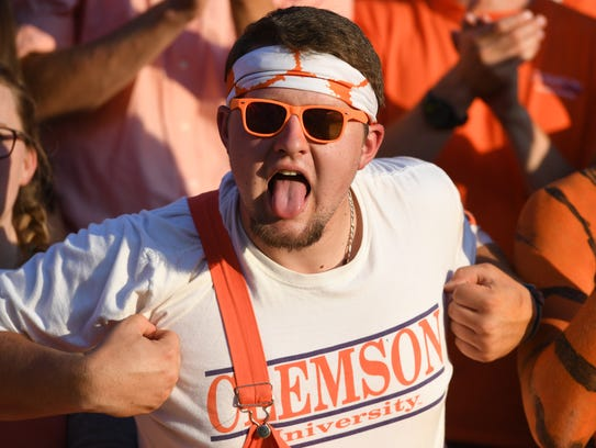 Clemson students during pre-game on Saturday, September