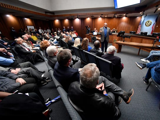 Abilene Mayor Anthony Williams gives the State of the City address Tuesday at City Hall.