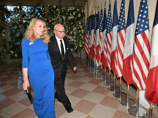 Rupert Murdoch and his wife, Jerry Hall Murdoch, arrive