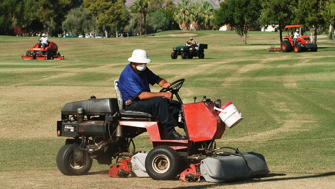 Crews maintain the Tahquitz Creek Golf Resort, two city-owned 18-hole golf courses in Palm Springs. The courses operate at $1 million annual deficit.