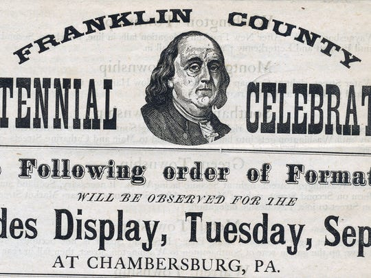 Program for the Franklin County Centennial Celebration Trades Display held on September 9th,1884 in Chambersburg.