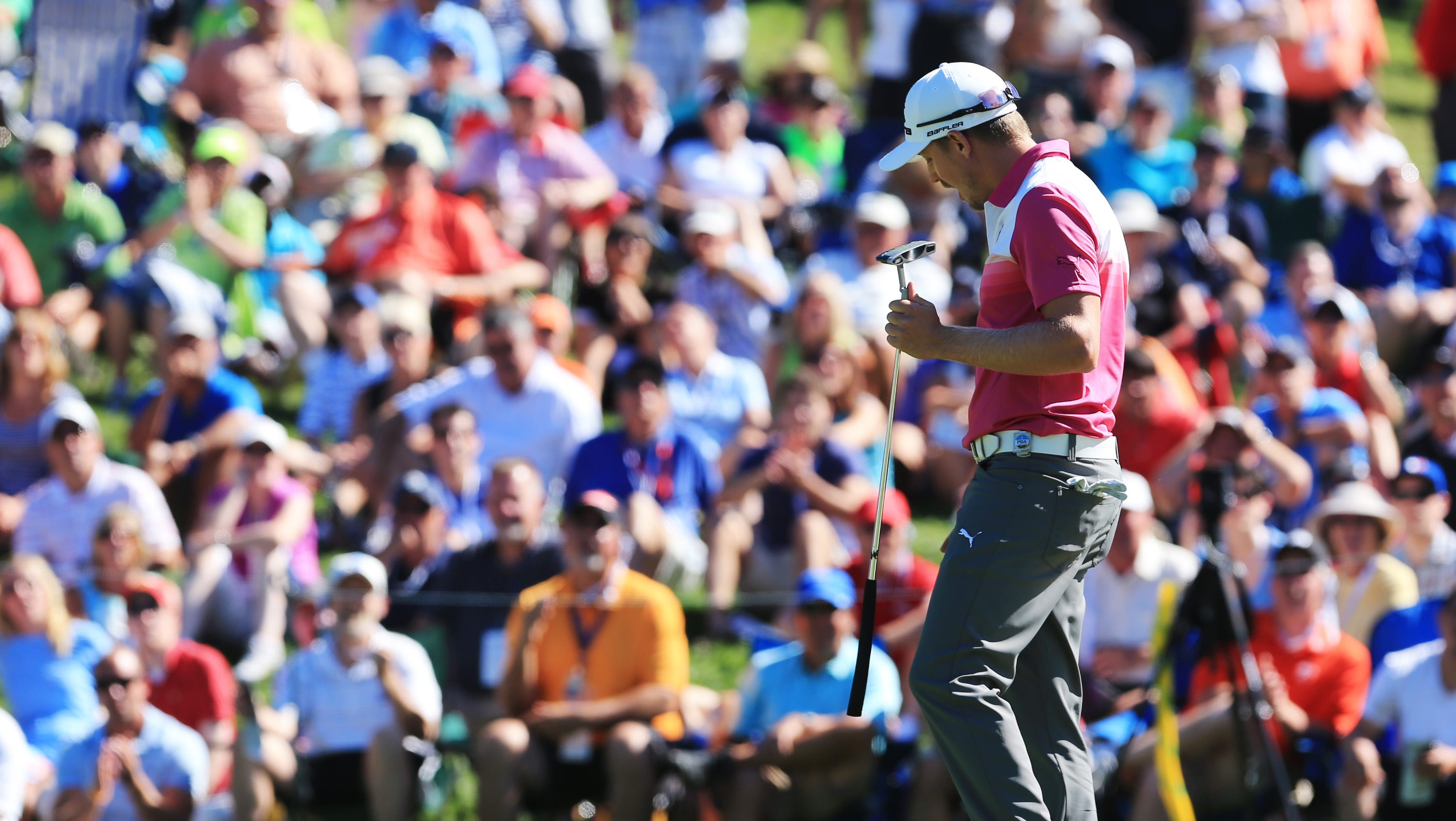 Jonas Blixt reacts to his missed putt at No. 8. Blixt shot a 4-under 66 to get to -6.