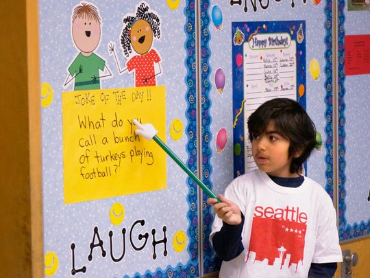 Jushen Sidhu is Jokester of the Day in Kathleen McNulty's third-grade class.