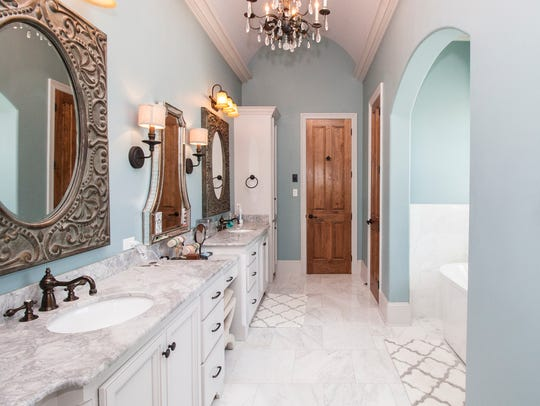 The master bath is a luxurious getaway.