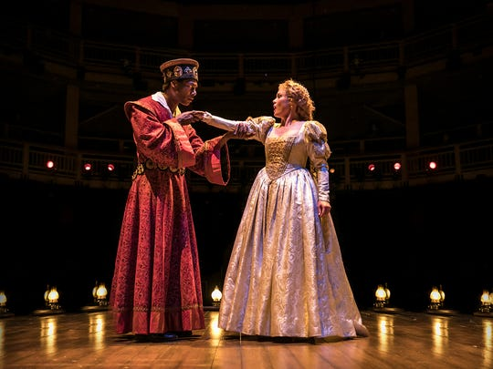 """Ira Aldridge as Othello (Dion Johnstone) shares the stage with actress Ellen Tree as Desdemona (Chaon Cross) in Chicago Shakespeare Theater's production of """"Red Velvet."""""""