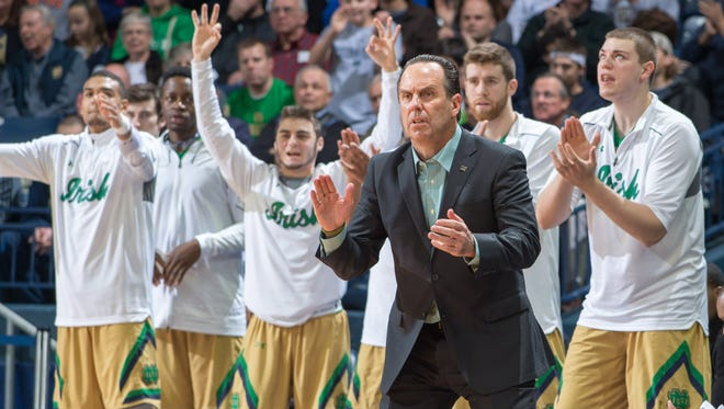 Notre Dame Fighting Irish head coach Mike Brey watches from the bench in the second half against the Florida State Seminoles at the Purcell Pavilion. Notre Dame won 83-63.