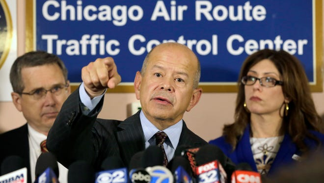 Federal Aviation Administration Administrator Michael Huerta addresses the media after touring the Chicago Air Route Traffic Control Center on Oct. 3 in Aurora , Ill.