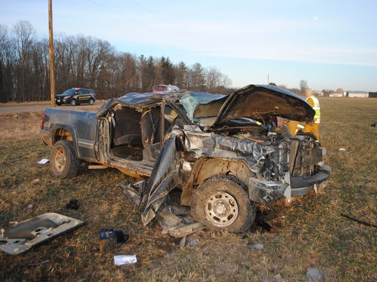 One person is dead and another injured after a pickup crashed in the town of Lynn Friday evening.