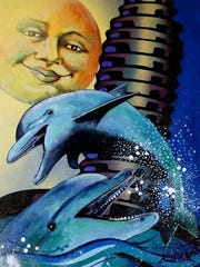 """""""Laughing Dolphins,"""" by Main Street Vero Beach guest artist Charles Blake. Blake's work will be on display during January."""