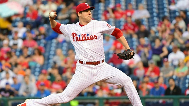 Jerad Eickhoff, a Philadelphia Phillies starter and Mater Dei grad, pitches against the New York Mets in April. He is Grand Marshal of the Fall Festival.