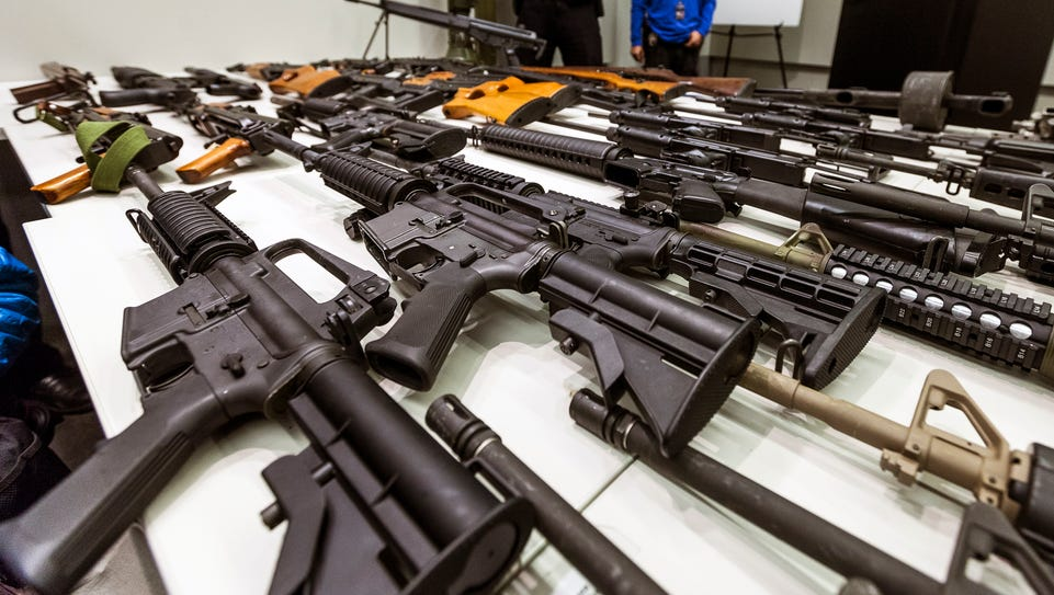 A variety of military-style semiautomatic rifles obtained
