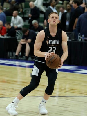 Donte DiVincenzo, from Villanova, participates in the NBA draft basketball combine Friday, May 18, 2018, in Chicago.