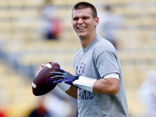 LSU Tigers quarterback Stephen Rivers before a game against the Auburn Tigers at Tiger Stadium on Sept. 21, 2013. Rivers' transfer to Vanderbilt was announced on June 4, 2014.