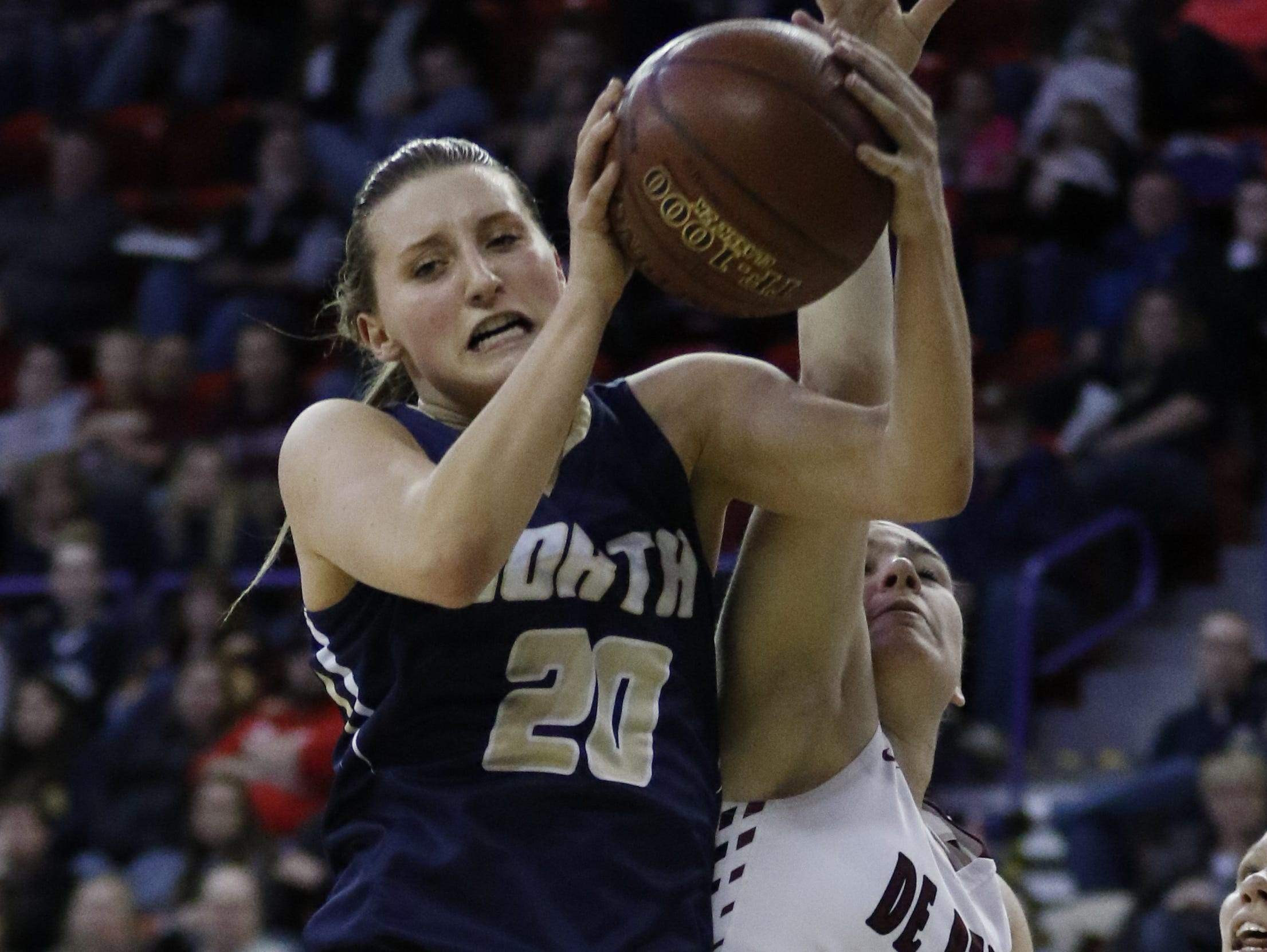 Appleton North High School's Sydney Levy competes on Saturday during the WIAA Division 1 State Championship Game at the Resch Center in Ashwaubenon.