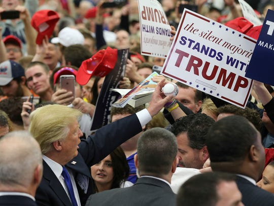 Trump is seen in a crowd at his March 2016 rally.