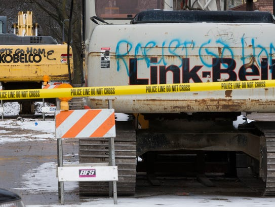 Two pieces of construction equipment vandalized with