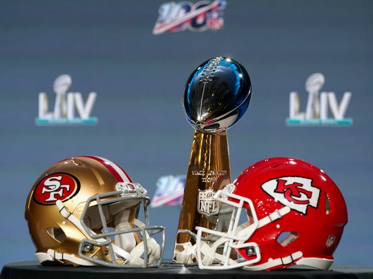 The Vince Lombardi Trophy is displayed before a news conference for the NFL Super Bowl 54 football game Wednesday, Jan. 29, 2020, in Miami. (AP Photo/David J. Phillip)