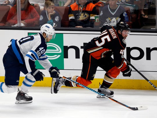 Anaheim Ducks defenseman Sami Vatanen (45), of Finland,