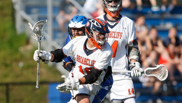 Briarcliff's Nicholas Cebel (10) works the ball behind