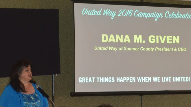 Dana Given, president and CEO of United Way of Sumner County, gives remarks during the annual campaign celebration at Bluegrass Yacht & Country Club in Hendersonville Thursday, April 13, 2017.