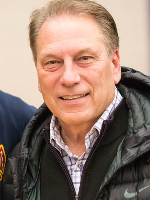 Michigan State head basketball coach Tom Izzo was at the Kalamazoo Central vs Battle Creek Central games doing a little scouting.